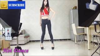 E99 Hot chinese girl dancing High Heels in leather pants leather leggings  pantyhose