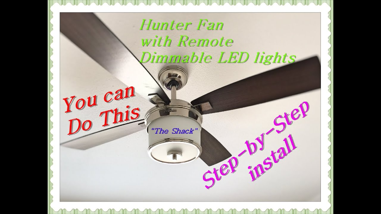 How to install a ceiling fan with remote hunter 52 kimball series how to install a ceiling fan with remote hunter 52 kimball series model 59206 youtube mozeypictures Image collections
