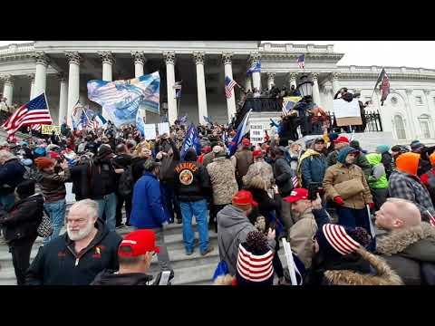 the oathkeepers headed to the top of the steps., From YouTubeVideos