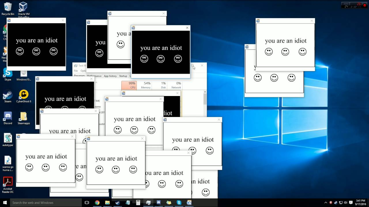 Joke Virus Windows 10, 7, 8 compatible.