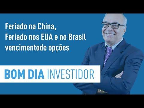 Feriado na China, Feriado nos EUA e no Brasil vencimento de opções