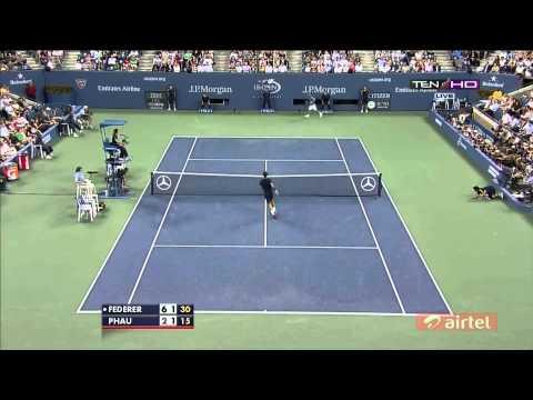 Roger federer Hits Smash like a SLAM DUNK US OPEN 2012 [HD]