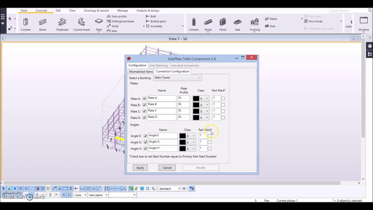 SidePlate Tekla Component 2 4 Configuration Tutorial