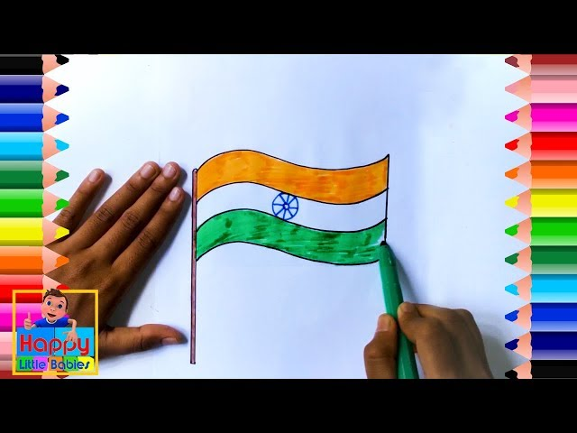 How to Draw Indian Flag - Drawing the Indian Flag    Drawing for Kids   Happy Little Babies !