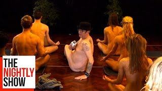 Joe Pasquale Attempts Some Naked Yoga for The Nightly Show