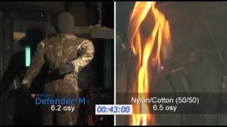 Сравнительный тест на огнеупорность ткани Defender M и материала NyCo.