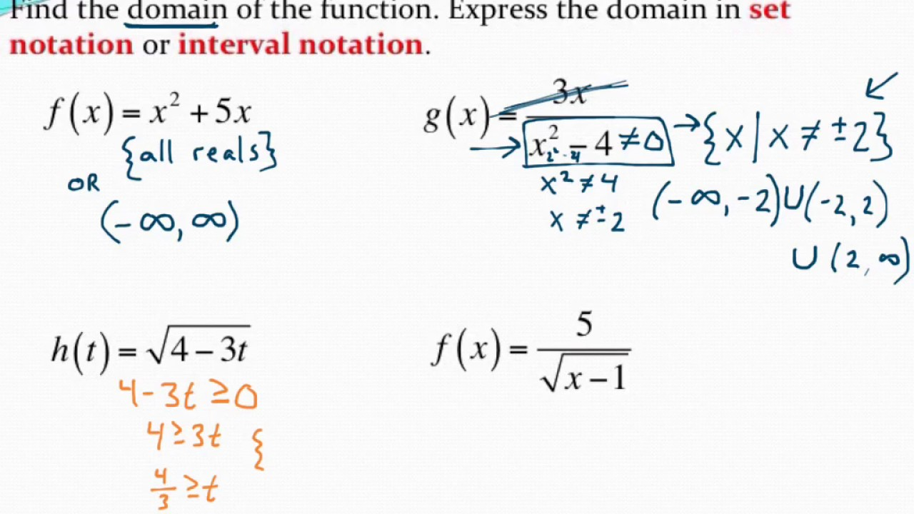 Writing domain in set notation and interval notation