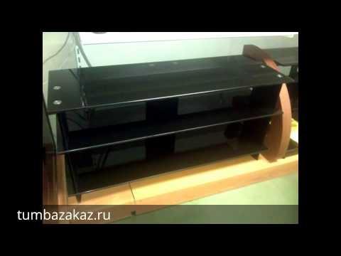 Тумба стеклянная для ТВ Стекло Металл ЛД 110.3/3