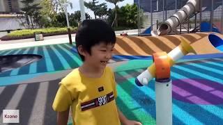 Outdoor waterfall playground - Family fun time Kzone