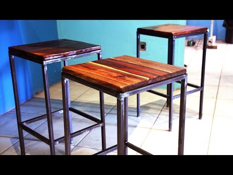 Bar stool style chairs | Mild steel + Teak