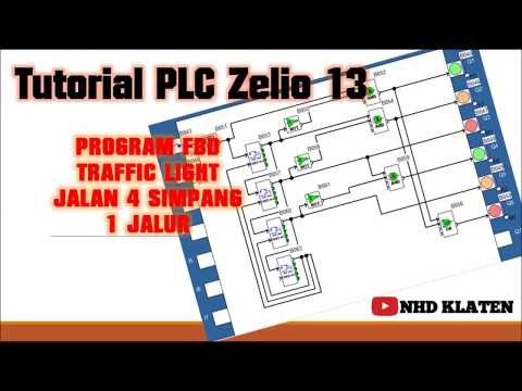 TUTORIAL PLC ZELIO #13 PROGRAM FBD traffic Light Jalan 4 simpang 1 Jalur