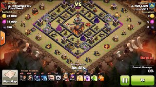 GoWiPe (Golem Wizard Pekka) can 2 star a town hall 10 by town hall 9 - clash of clans war attack