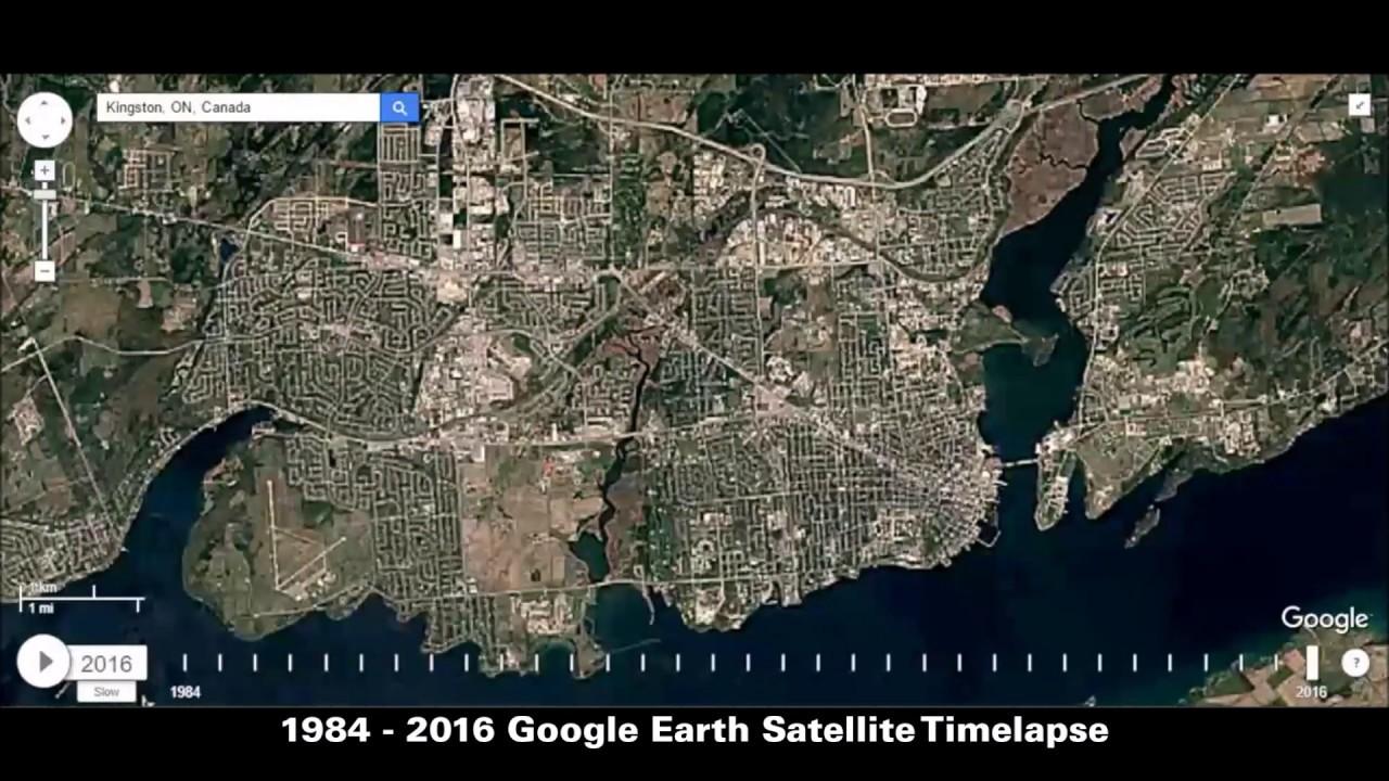 Google Timelapse Kingston Ontario YGK YouTube - Earth satellite view 2016