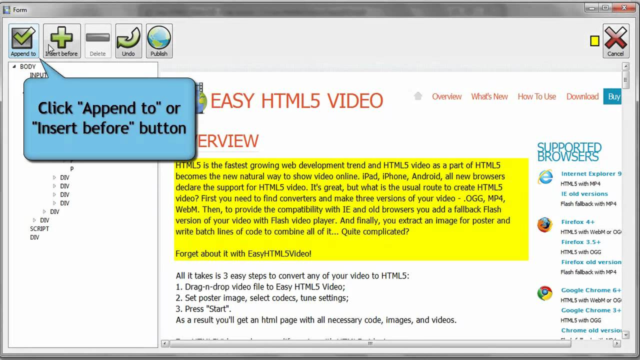 How to insert HTML5 Video to page w/o coding