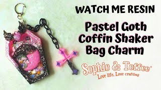 Watch Me Resin - Pastel Goth Coffin Shaker Bag Charm - Sophie and Toffee Products