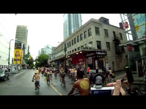WORLD NAKED BIKE RIDE WNBR 2011 DOWNTOWN VANCOUVER GOPRO HERO HD HELMET CAM