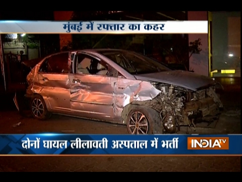 Speeding Car Over-turns in Bandra Reclamation area of Mumbai