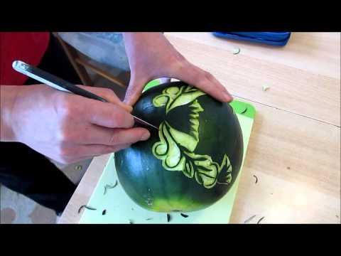 Cách tỉa hoa từ Dưa hấu-Carving Art Melon-Schnitzkunst-ศิลปะการแกะสลัก