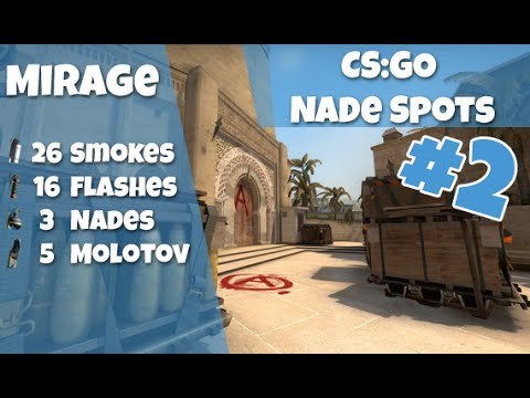 CS:GO Nade Spots Ep #2 - Mirage 2016 28 Smokes, 16 Flashes, 5 Molotovs and 3 nades - Quick Version