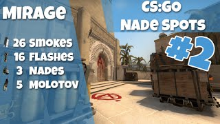 CS:GO Nade Spots Ep #2 - Mirage 28 Smokes, 16 Flashes, 5 Molotovs and 3 nades - Quick Version