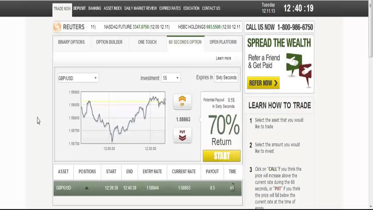 Binary options 60 seconds signals