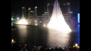 Dubai Mall water Fountain set to the beautiful music of Elissa's Aa Bali Habibi.