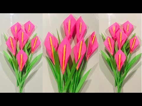 DIY: How To Make Calla Lily Beautiful Paper Flowers/ Crafts- Work DIY