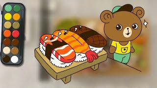 How to Draw sushi | with baby bear | Draw On Photos | coloring pages