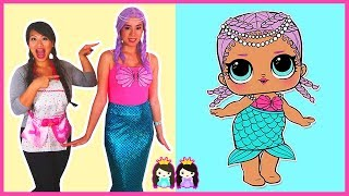 LOL Surprise Dolls in Real Life MERBABY Make Up + Dress Up Play at Pretend Toy Hair Salon