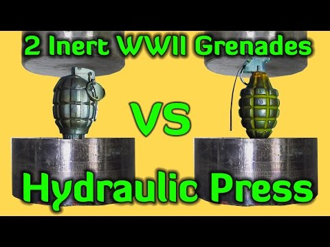 Thumbnail: 2 Grenades (Inert) | Hydraulic Press | Pressure Gauge