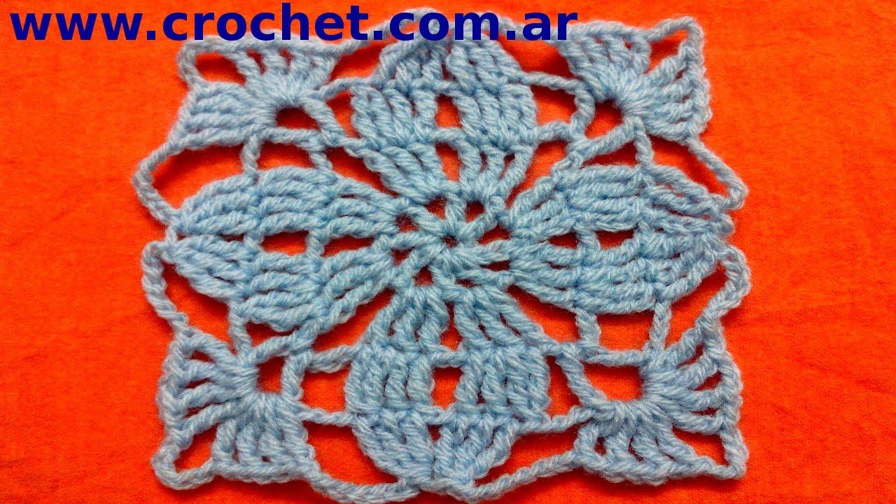 Motivo N° 3 cuadrado #granny square en tejido crochet o ganchillo ...