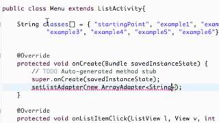 Android Application Development Tutorial - 19 - Setting up an ArrayAdapter