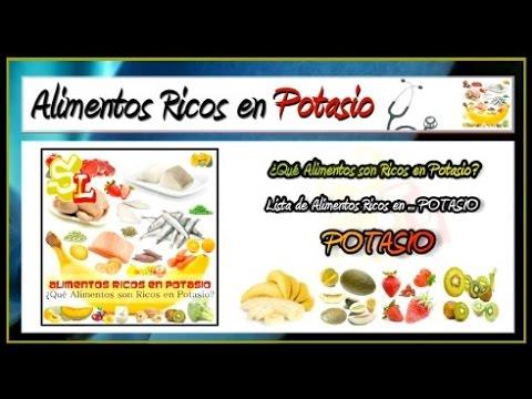 Lista de alimentos ricos en potasio frutas con potasio comidas ricas en potasio youtube - Alimentos en potasio ...