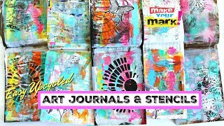 Upcycled Art Journals & Stencils - with Magazines & Plastic Lids