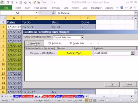 excel magic trick 902 conditionally format to do list if date in