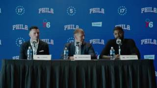J.j. redick and amir johnson introductory press conference with the philadelphia 76ers.