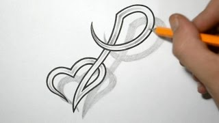 Designing Letter P and Heart Combined - Tattoo Design Ideas
