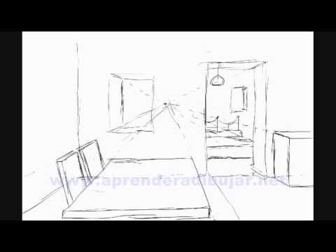 dessin de l 39 interieur d 39 une maison en perspective piece et chambre comment dessiner youtube. Black Bedroom Furniture Sets. Home Design Ideas