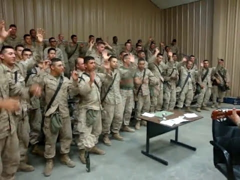 "Marines singing ""Lord i lift your name on high"""