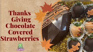 Thanksgiving Chocolate Covered Strawberries Step By Step