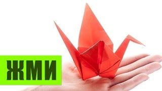 Журавлик из бумаги оригами. Paper crane