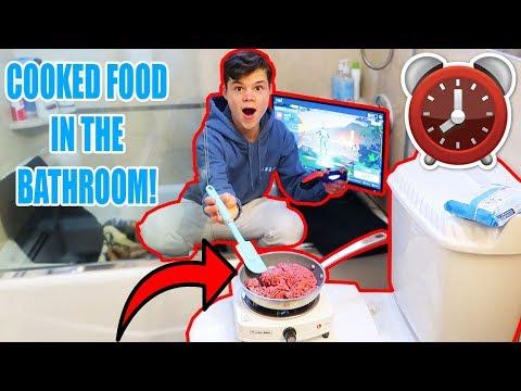 24 HOUR OVERNIGHT CHALLENGE IN MY BATHROOM!