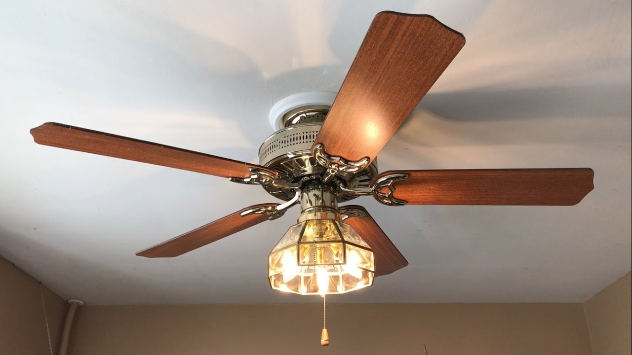 Hunter Passport Ii Ceiling Fan 52 Quot With Hunter Beveled Glass Light Kit Youtube
