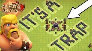 Clash Of Clans   FREE DARK ELIXIR?   NO WAY!! ITS A TRAP!   Epic Loot Troll Base 2016!