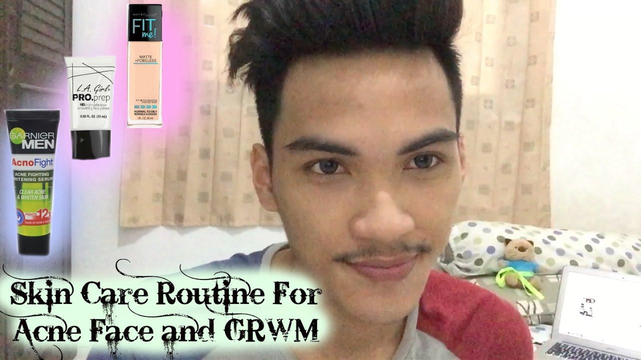 Skin Care Routine Buat Wajah Berjerawat dan GRWM (cowok ...