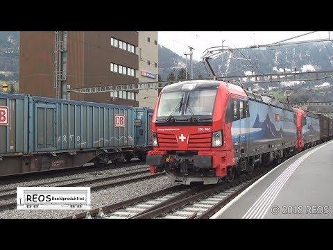2018-01 [HD] Arth-Goldau Station in the afternoon. SBB, BLS, Crossrail, DB