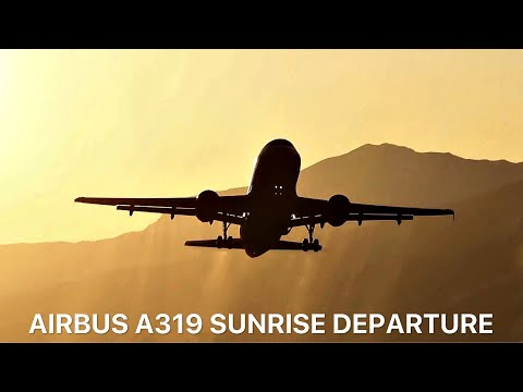 ▶ A319 GOLDEN departure - when the sun rises over the Alps. (Innsbruck)