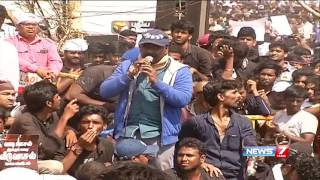 actor lawrence s emotional speech about jallikattu at marina beach   news7 tamil