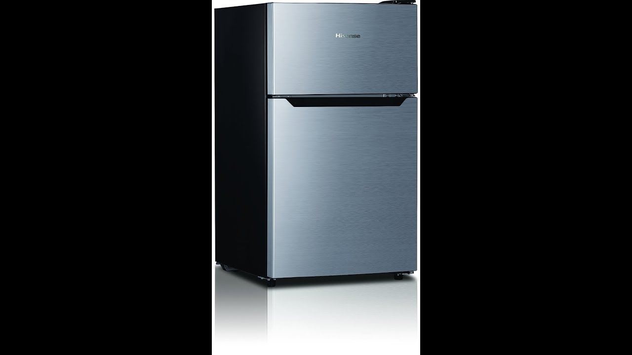 Lovely Hisense RT33D6AAE Compact Refrigerator With Double Door Top Mounted  Freezer, 3.3 Cu. Ft., Stainless   YouTube