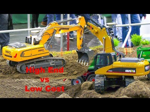 10.000 DOLLAR Vs 620 DOLLAR!! RC MODEL EXCAVATOR HUINA Vs HIGH END HYDRAULIC MACHINES